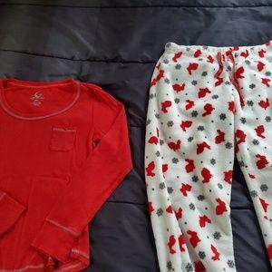 size Med pj set, red/white